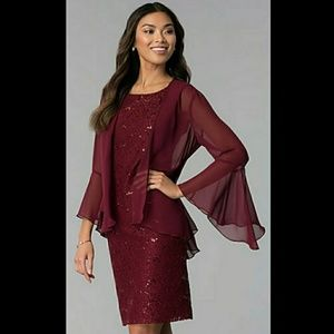NWT Scarlett Wine 2 Piece Lace Sequin Dress Sz 12
